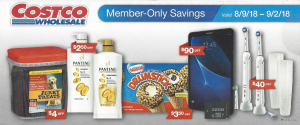 Costco August 2018 Coupon Book.