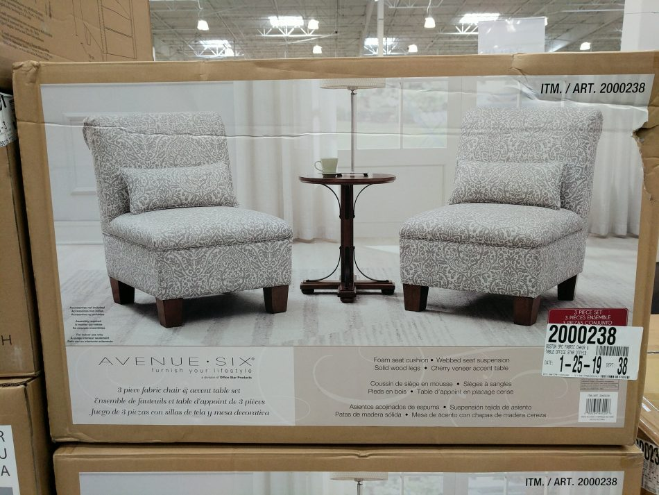 Avenue Six 3 Piece Fabric Chair Amp Accent Table Set