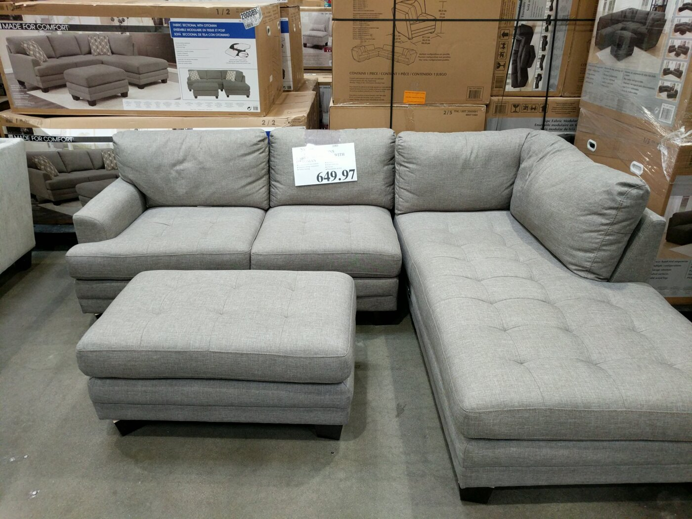Phenomenal True Innovations Fabric Sectional With Ottoman Costco97 Com Beatyapartments Chair Design Images Beatyapartmentscom
