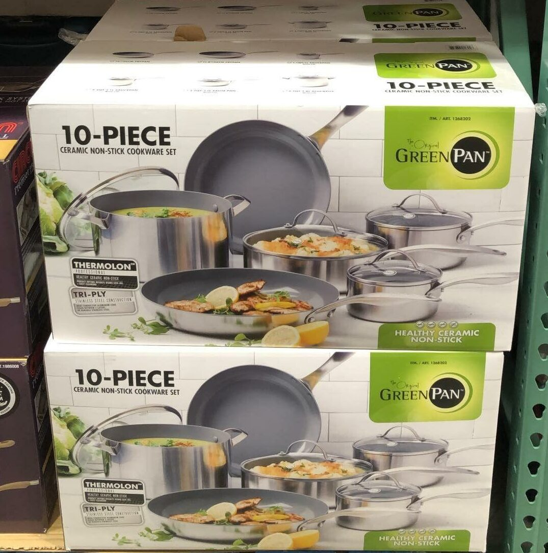 Greenpan 10 Pc Stainless Steel Ceramic Non Stick Cookware