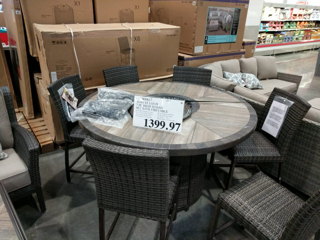Agio St Louis 7 Piece High Dining Set With Firetable Costco97 Com